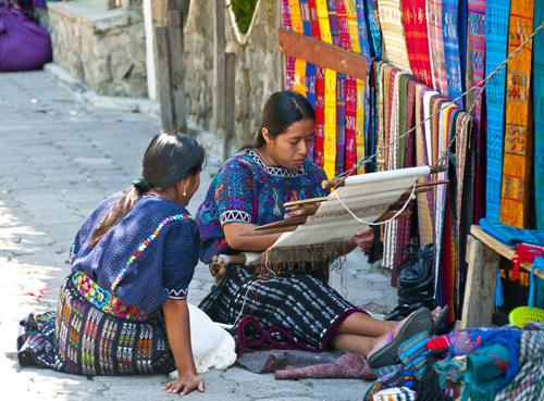 Mayan Women Weaving Cloth