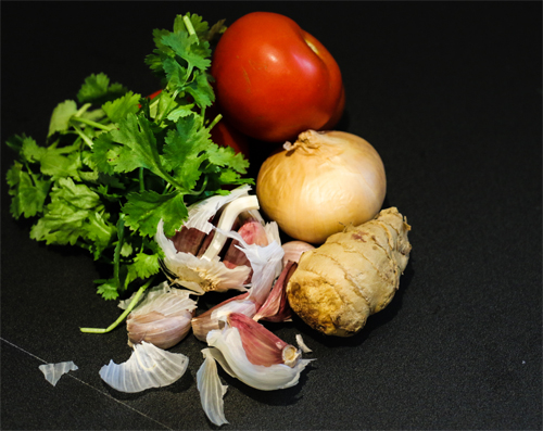 Cilantro, Tomato, Ginger, Onion and Garlic - Base vegetables for Indian Dahl