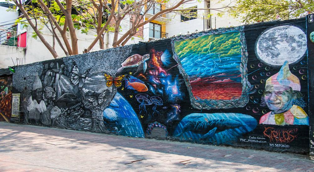 Colourful graffiti on a concrete wall.