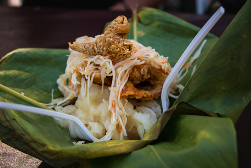 Vigoron served in a banana leaf on the streets of Granada, Nicaragua