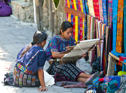 Cloth being woven in San Juan la Laguna Lake Atitlan