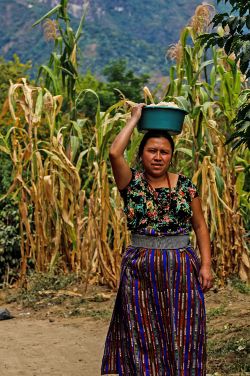 A woman poses as she carries a basket of corn flour home from the San Pedro market