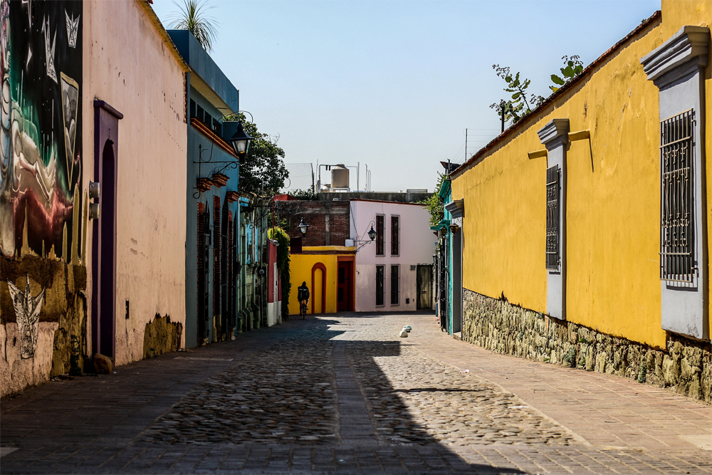 A small, empty street in Mexico