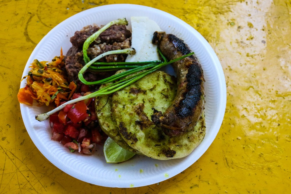 Delicious sausage platter at the Juayua Food Festival in El Salvador
