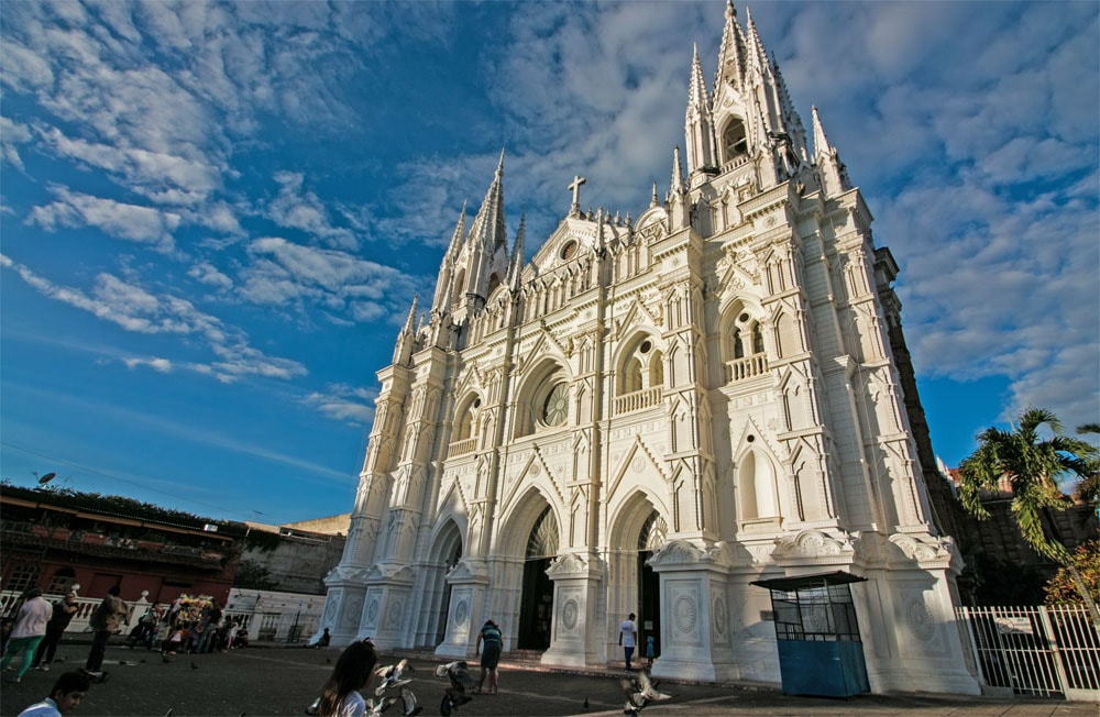 The stunning white cathedral in gothic style architecture in Santa Ana