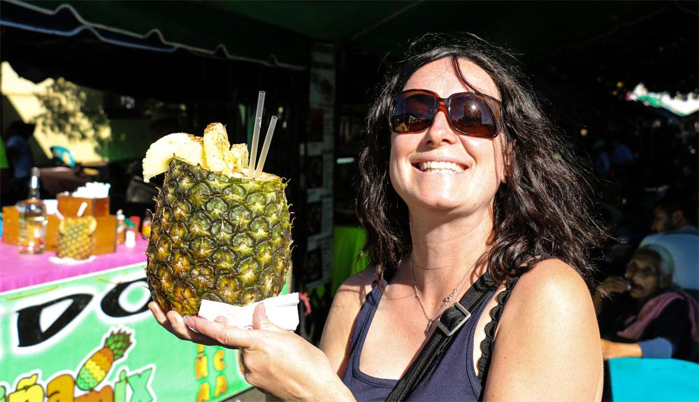 A Pineapple cocktail in El Salvador