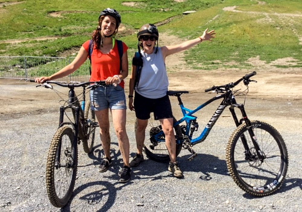 Kylee and a friend with their bikes